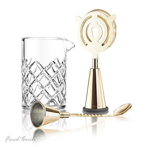 Final Touch Messing-Cocktail-Set, multifunktionale Werkzeuge zum Herstellen, Ausgießen, Rühren und Abtropfen inklusive Glas Yarai Rührkrug, Jigger-Sieb, Messlöffel - Premium-Geschenkset Glas Jigger