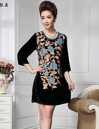 PU&PU Robe Aux femmes Grandes Tailles Vintage / Soirée / Travail Au dessus du genou Soie / Autres / Viscose pink-2xl