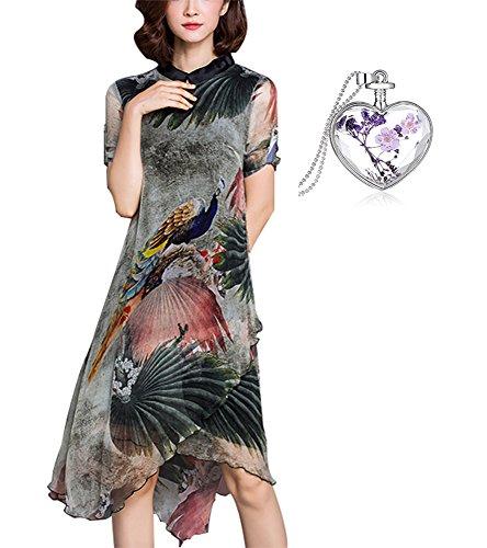 Leona-de Frauen Temperament Chiffon Seide Druck Kleid in den Langen Abschnitt Der unregelmäßigen Kleid (XXXL, (Kostüme Mädchen Jahre Für 1950er)