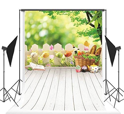 Kate Nahtlose Kulissen Ostereier Holz Zaun Boden Mikrofaser Studio Foto Stand Requisiten Kinder 5x7ft (150x220 cm) (Für Foto-stand Requisiten Ein)