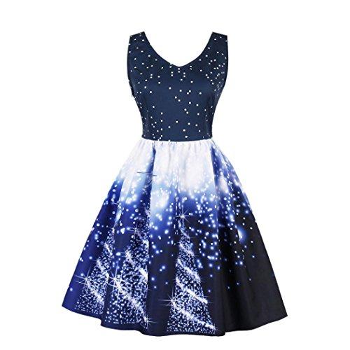 Weihnachtskleid , Dasongff Frauen Weihnachtskleid Ärmellos  Partykleid Vintage Xmas Swing