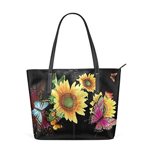 Eslifey Butterflies Over Flowers Portemonnaie PU Leder Schulter Tote-Tasche für Damen Mädchen Damen -