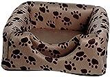 dobar 60171 Ausfaltbare Liegebett und Kuschelhöhle für Katzen und kleine Hunde, 40 x 40 x 30 cm, grau/schwarzbrauner pfotenprint - 2