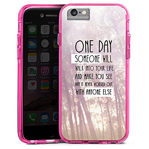 Apple iPhone 6 Plus Bumper Hülle Bumper Case Glitzer Hülle Lebensweisheit Pastel Pastell Bumper Case transparent pink