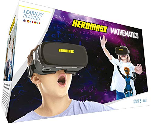 Heromask: VR Headset + Maths Games [Times Tables, mental Arithmetic.] Interactive Toy for Children 5 6 7 8.12 Years Old. 3D AR Virtual Reality Glasses. Christmas, Birthday Gifts for Kids - VR Game