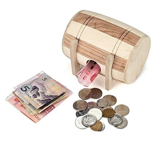MA87 Sparschwein aus Holz Safe Money Box Einsparungen Weinfass Holz schnitzen handgemacht (Lego-münzen)