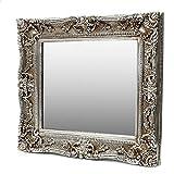 Grosser Antik Wandspiegel Silber 75x85 - Handgefertigt - Barock Spiegel mit Facettenschliff
