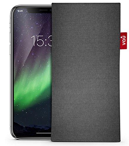 vau fabricSleeve Tasche für iPhone X - Hülle aus Textilstoff + Mikrofaser-Futter für Display-Reinigungseffekt (Rock Gray) (Classic-serie-jacke)