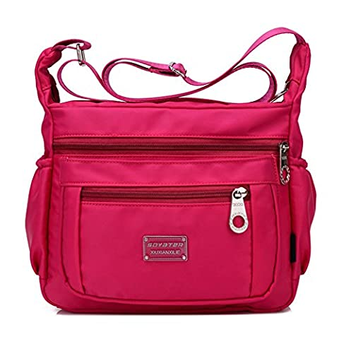 Crossbody Handbag for Women With Adjustable Shoulder Strap + Multiple Zippered and Elastic Pockets | Organize Wallet, Passport, Boarding Pass, & More | Rose, Water Resistant Nylon | From Soyater