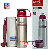 Milton Thermosteel Glassy 1000 ML Flask Bottle (24hrs Cold & 24hrs Hot), Pink