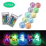 10 pcs Mini Lumières LED Submersible, Lampe Sous-Marines Étanche RGB Multicolores Bougies LED...