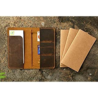 Personalized distressed leather midori travel journal cover Fauxdori leather travel notebook cover -MD005C