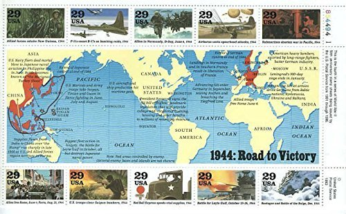 wwll-events-1944-road-to-victory-set-of-10-x-29-cent-us-postage-stamps-scott-2838-by-usps