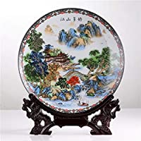 AFMGD Jingdezhen Art Ceramic Ornamental Beautiful Landscape Plate Decoration Plate Wood Base House Porcelain Plat E Set Wedding Gift dragon hook plate