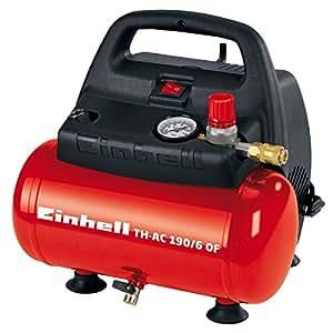Einhell Compresseur TH-AC 190/6 OF (1100 W, Puissance d'aspiration 185 l/min, Régime 3.550 trs/min, Pression maximale 8 bar, Capacité de la cuve 6 L, Cuve garantie 10 ans contre la corrosion)