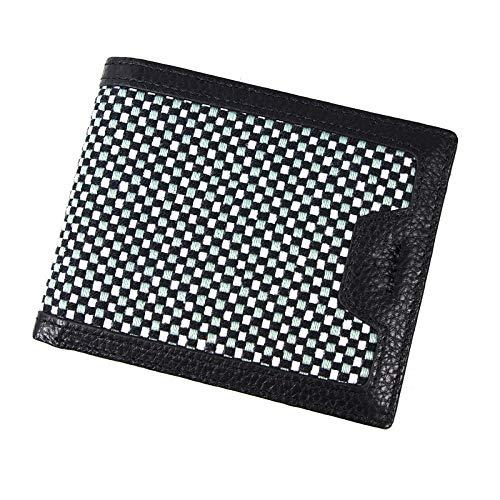 DZX Men's Wallet-Schwarz Leder-Design-Slim Bi-Fold Mit ID Fenster Geldscheinklammer,Black-A -