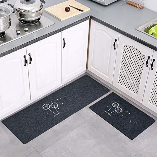 Mjia Rugs Küche Teppiche,2 STÜCKE Grauer löwenzahn 4 MM Dicke teppichGummi Rückseite Dekorative Rutschfeste Fußmatte Läufer,40 * 60+ 40 * 120 cm