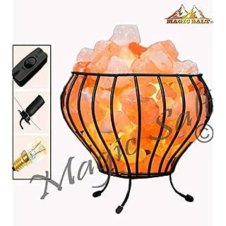 Magic salt Natural Therapeutic Himalayan Salt Lamp Metal Basket different shapes (IRON-BASKET-FIRE BOWL, On/Off Cable)