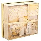 Newborn 7 Piece Luxury Boxed Gift Set, each box contains 1 x Teddy, 1 x Hat, 1 x Pair of Mittens, 2 x Wash Cloths, 1 x Pair of Socks and 1 x Burp Cloth Lemon set