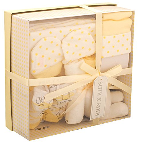 Newborn 7 Piece Luxury Boxed Gift Set, each box contains 1 x Teddy, 1 x Hat, 1 x Pair of Mittens, 2 x Wash Cloths, 1 x Pair of Socks and 1 x Burp Cloth Lemon set