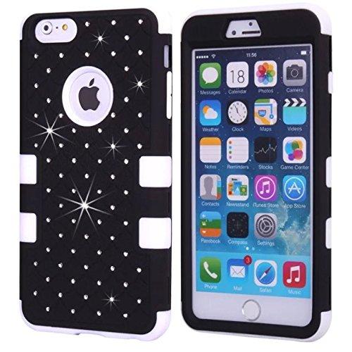 iPhone 6S Case, iPhone 6 Bling Case, Lantier [Disque souple Tough] concepteur Crystal Bling hybride Cover Case Armure pour iPhone 6, iPhone 6S 4,7 pouces rose + blanc Crystal Bling White+Black