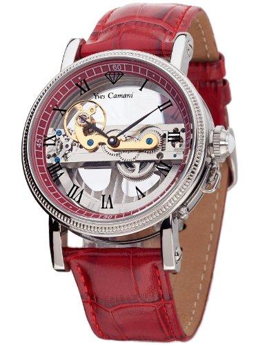 Yves Camani GRIMAUD Red Automatik Skeleton YC1032-E YC1032-E-U - Reloj analógico automático para hombre, correa de cuero color rojo