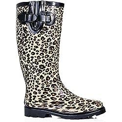 Gummistiefel Leopard Damen, Schwarz, Größe 39
