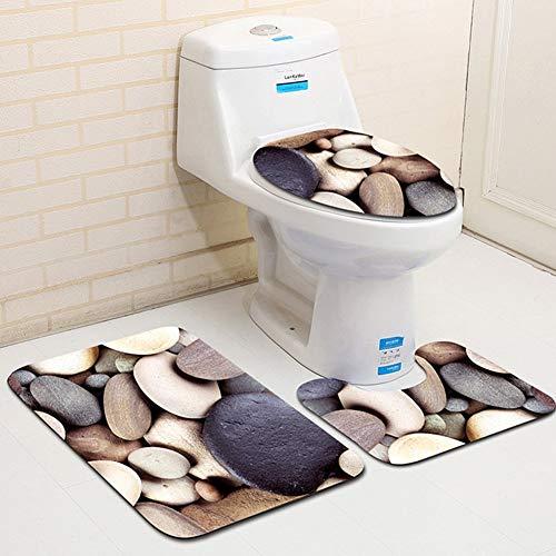 Bathroom Mat Sets 3 Piece,Sandy Beach Sea World Non Slip Toilet Lid Tank Cover Toilet Seat Cover Toilet Mat Bathroom Non-Slip Pedestal Rug Bath Mat Set(Sand Beach) -