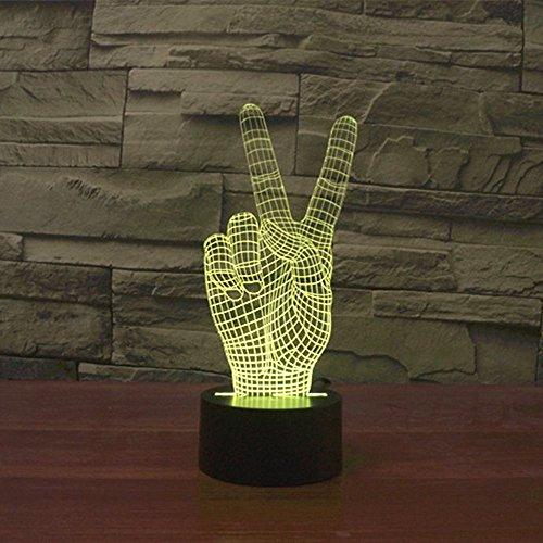 Lampe 3D ILLUSION Lichter der Nacht, kingcoo 7Farben LED Acryl Licht 3D Creative Berührungsschalter Stereo Visual Atmosphäre Schreibtischlampe Tisch-, Geschenk für Weihnachten, Kunststoff, la victoire 0.50 wattsW - 4