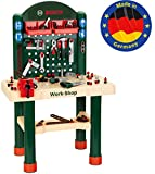 Theo Klein 8461 8461-Bosch Workshop mit extragroßer Arbeitsplatte Holzimitatation und viel Werkzeug, Spielzeug, Grün, Holzfarben