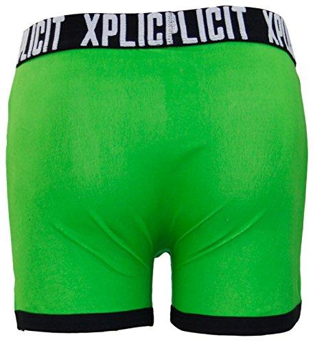 Xplicit Herren 'Suck Itself' Komisch Neuheit Slogan Herrenboxer Retroshorts Allergies Classic Green