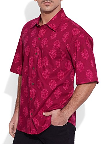 ShalinIndia hommes de plage en coton imprimé Shirt manches demi avant Pocket Multi_321