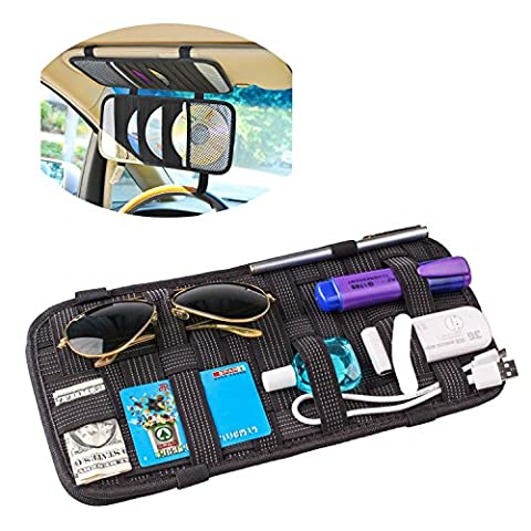 TFY Car Visor Organizer - Card Storage and Electronic Accessory Holder - Triple-layer, 20-Pocket CD Disk Storage Holder