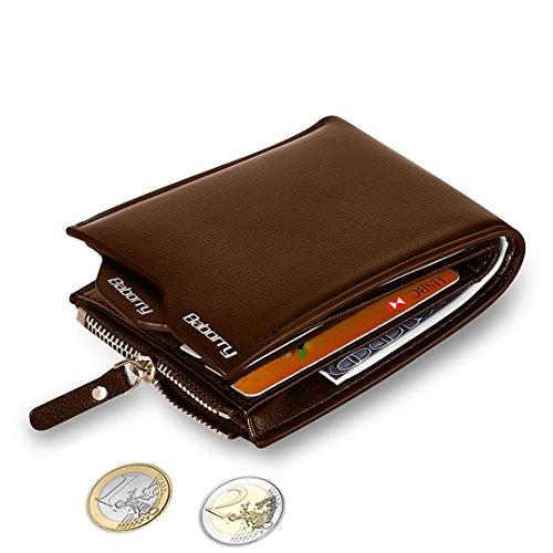 MPTECK @ Marrón Cartera Bloqueo RFID para hombre Estilo plegable Monedero Billetera de PU Cuero con Bolsillo para monedas y Crédito Tarjetas Ranuras Portatarjetas extraíble para Identificación Tarjetas Crédito Licencia de conducir