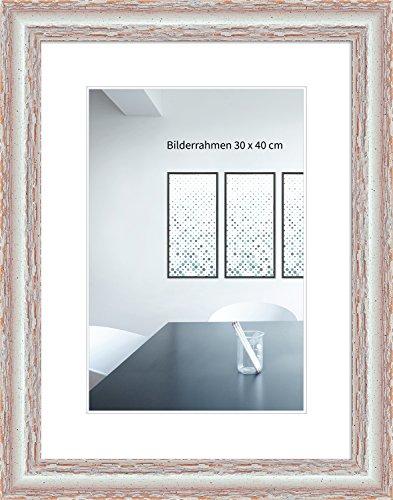 00.001-finish (WANDStyle Bilderrahmen Shabby-Chic 24x30cm I Farbe: Weiß I Fotorahmen I Weißer Bilderrahmen Vintage I Made in Germany I H740)
