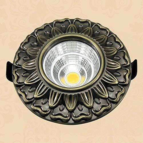 WPOLED Klassische Muster Runde Einbaustrahler Industrielle Retro 5 Watt LED Downlights Innengang Treppen Wohnzimmer Zähler Shop Dekorative Decken Panel Lampen Bronze -