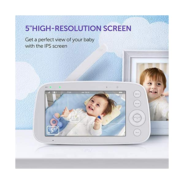 "Baby Monitor, VAVA 720P 5"" HD Display Video Baby Monitor with Camera and Audio, IPS Screen, 480ft Range, 4500 mAh Battery, Two-Way Audio, One-Click Zoom, Night Vision and Thermal Monitor VAVA 【High quality 5-inch baby monitor】Equipped with an advanced 5-inch LCD screen and 720P HD camera, the image quality is 10 times higher than the traditional 240P display baby monitor. When your baby moves, it can move 270° horizontally or 110° vertically, and can also zoom in 2x and 4x. It also has full-color images of the day and grayscale infrared images of the night, so you can clearly see all the subtle movements of your little baby. 【Up to 24hr Battery Life】 VAVA Baby monitor built in 4500mAh rechargeable battery lasts for 12hrs in display mode, 24hrs with the display turned off for full-day monitoring of your baby. 【Effortless Monitoring】 LED noise indicators and an external thermostat keep you accurately updated on your baby's wellbeing; set to the highest to alert even the heaviest sleeper or set to low volume to hear only loud noises with 7 volume levels.When your baby is crying, you can immediately respond to the walkie-talkie system to calm your baby. 2"