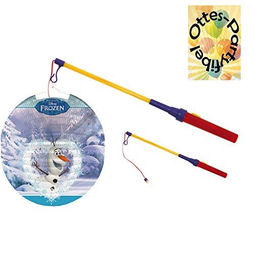 HHO Laternenset Ballonlaterne Lampion Frozen Schneemann Olaf Die Eiskönigin + LED Laternenstab Leuchtstab