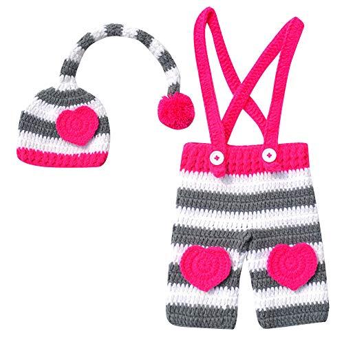 Happy Cherry Fotografie Prop Baby Kostüm Stricken Handarbeit Hut Neugeborene Kostüm Herzen Outfits