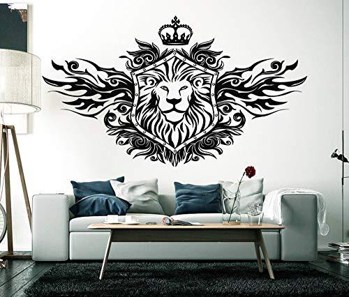 guijiumai König der Löwen Krone Wandtattoo Wohnzimmer Wohnkultur Tier Wandaufkleber Löwen Wand Vinylkunst Abnehmbare Schlafzimmer Ornament schwarz 99x57 cm