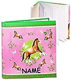 Unbekannt Notizbuch / Tagebuch -  Pferde & Schmetterlinge  - incl. Name - blanko weiß - 96 Seiten - Dickes Buch gebunden - Reisetagebuch / Poesiealbum - Softcover / F..