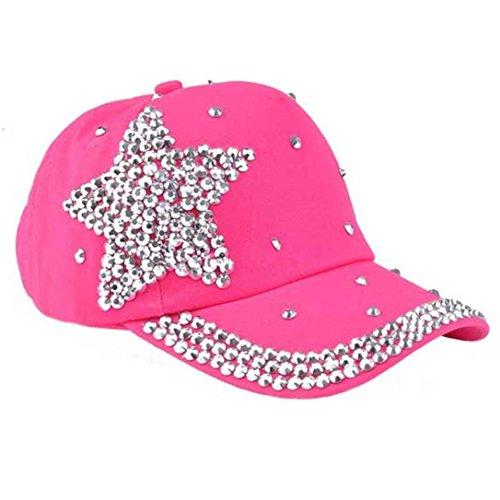 Chicos chicas sombrero, Internet diamantes de béisbol de moda estrella de tapa en forma (Rosa