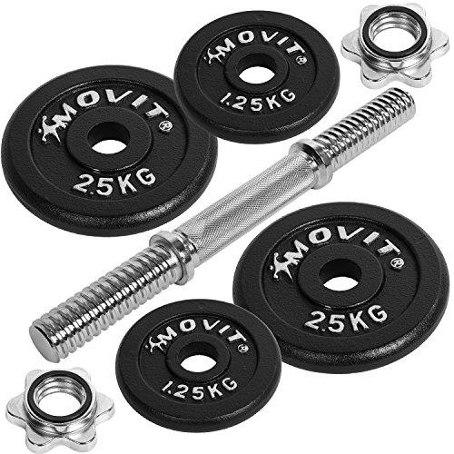 Movit® Kurzhantel PRO Set, Gusseisen Hantel 10kg, Stange 30mm Standardnorm, Griff gerändelt, Sternverschlüsse, Hantel Set Kurzhantelset Gewichte