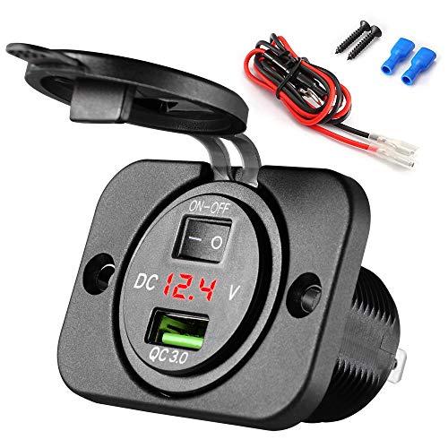 SOAIY USB Coche Panel automóvil QC 3.0 Carga rápida