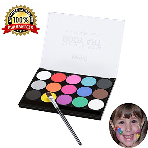 tives Party Set Xpassion Sicheres Nichttoxisches Schminkpalette Berufs Gesichts Körper Anstrich Satz mit 1 Pinsel 15 Farben für Kinder Parties Bodypainting Halloween Make-up (Halloween-make-up-farben)