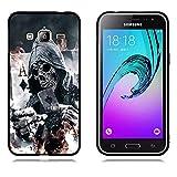Samsung Galaxy J3 (2016) Hülle, FUBAODA [Schädel Kopf] Schwarze Grenze 3D zeitgenössischen Chic Design Textured Geometrische Mode Kreative Anti-Scratch Smart Schutz für Samsung Galaxy J3 (2016)
