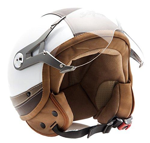 SOXON SP-325-URBAN White · Cruiser Scooter Piloto Mofa Retro Motard Urbano Vespa Chopper Urban Vintage Bobber Biker Casco Demi-Jet Moto · ECE certificato · design in pelle · compresi visiera · compresi Sacchetto portacasco · Bianca · L (59-60cm)