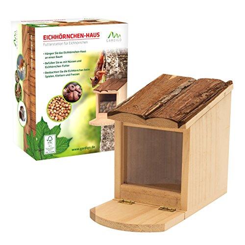 Gardigo Eichhörnchen Futterstelle aus Holz | Futterbar, Futterhaus, Futterspender zum Aufstellen oder Aufhängen