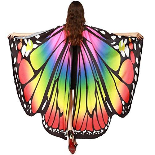 (Xinan Weiche Gewebe Schmetterlings Flügel Schal Feenhafte Damen Nymphe Pixie Halloween Cosplay Weihnachten Cosplay Kostüm Zusatz Women Scarf Women Butterfly Wings Schals von (168*135CM, Multicolor))
