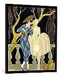 """Quadro con cornice: Georges Barbier """"Harlequin's Kiss"""" - stampa artistica decorativa, cornice di alta qualità, 90x100 cm, nero / angolo grigio"""
